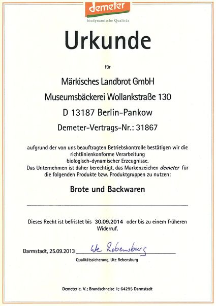 Zertifikate :: Märkisches Landbrot